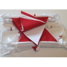 10m Red and White Fabric Bunting