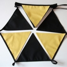 10m Black and Gold Fabric Bunting