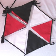 10m Red White Black Fabric Bunting