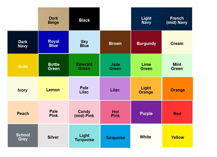 Pick  Mix Colour Chart